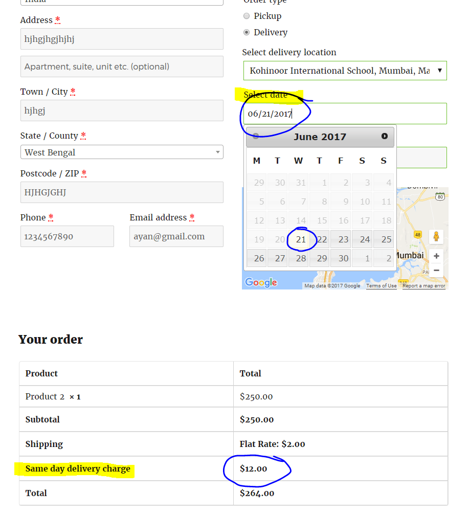 Same day delivery charges