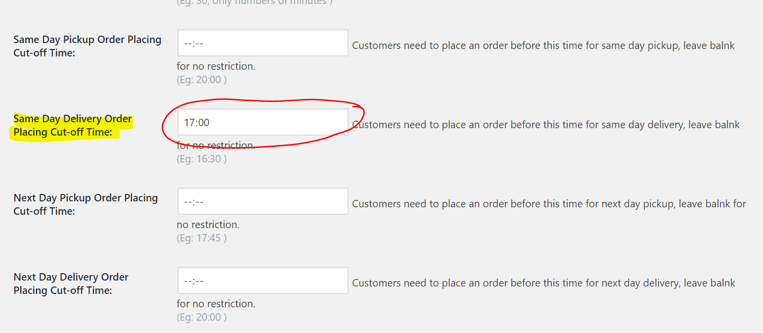 Put desired time in settings field labeled as Same Day Delivery Order Placing Cut-off Time: