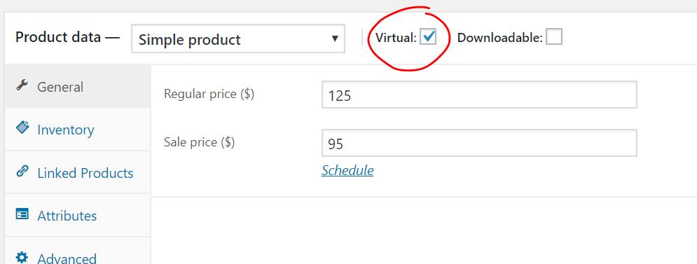 Mark product as virtual