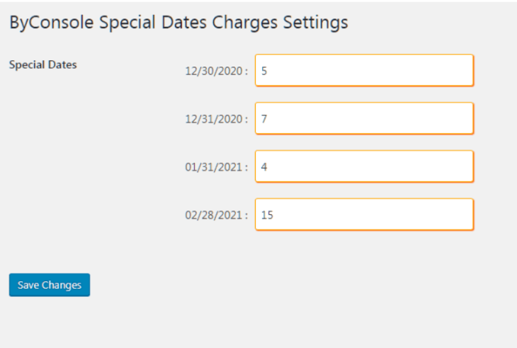 special date charges in WooCommerce