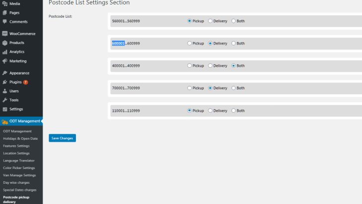 Order Type per Postcode