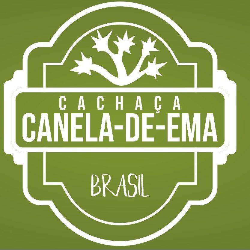 Logomarca cachaça canela de ema com alusão ao cerrado