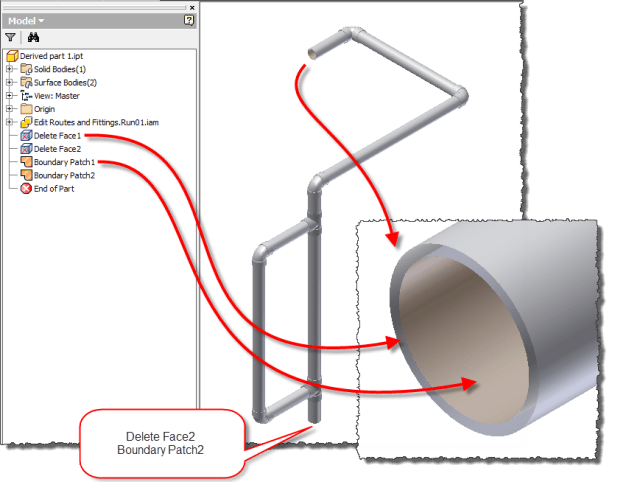 Tube and Pipe Run - Edit the Derived Solid to create an envelope