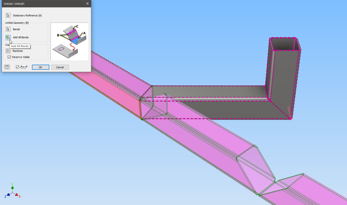 Notch, bend, and straighten in Inventor