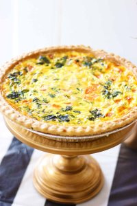 Spinach and Tomato Quiche for brunch from pierrot catering in sussex county nj