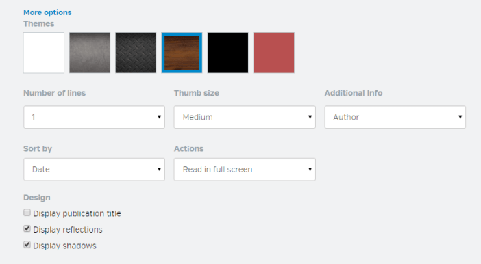 Widget options