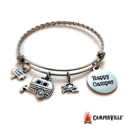 Happy Camper Stainless Steel Charm Bracelet