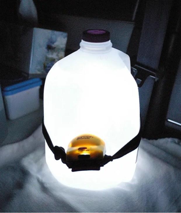 Water Jug and Head lamp lantern - Backyard camping hack