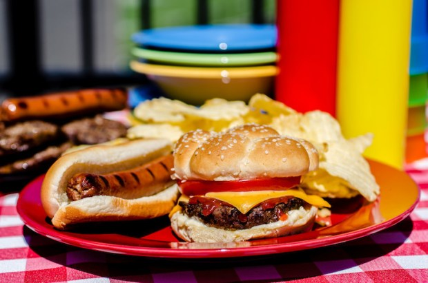 Backyard Camping Ideas - Burgers and hot dogs