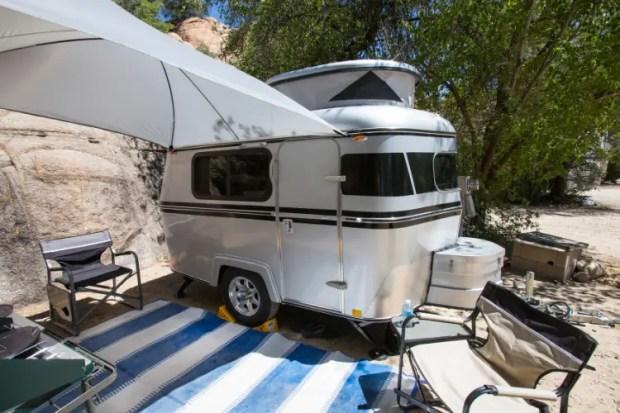 micro camper setup on the sand