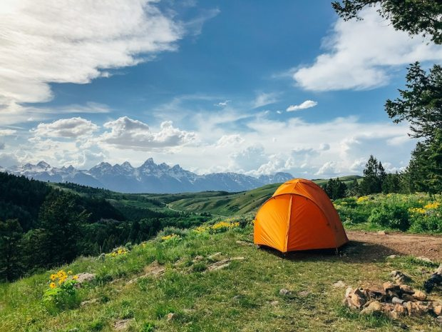 primitive camping in the mountains