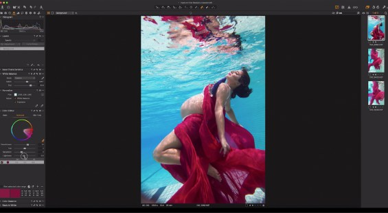 Capture One raw photo editor blogpost Martha suherman underwater portraits woman under water wearing floaty gown capture one interface color editing