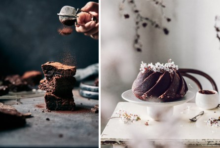 michaela hartwig food photographer tips on styling food for photo shoot using capture one pro raw image editor brownies piled up being dusted with cocao and chocolate cake decorated with real flowers