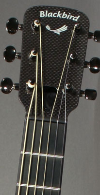 Top of a Blackbird Rider carbon fiber guitar