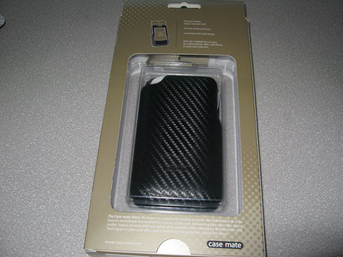 Case-Mate black carbon fiber leather iPhone 3G case in box back