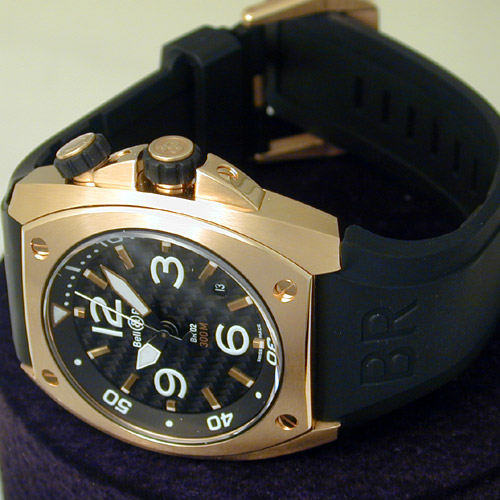 Bell & Ross BR-02 pink gold and carbon fiber watch