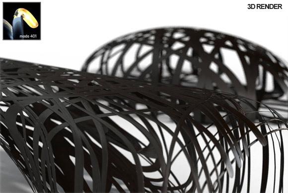 Peter Donders C-Bench carbon fiber bench 3D render