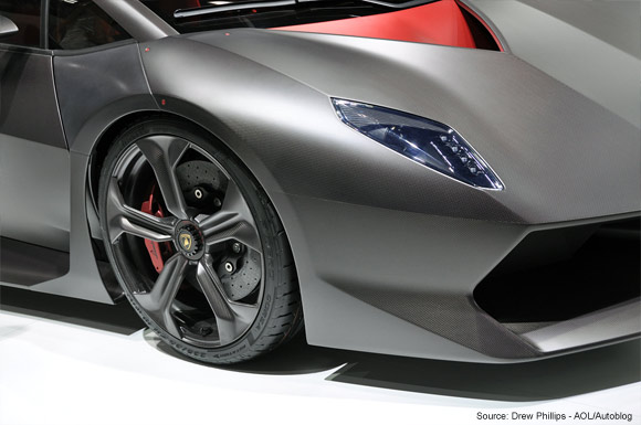 Up close carbon fiber on Lambooghini Sesto Elemento concept