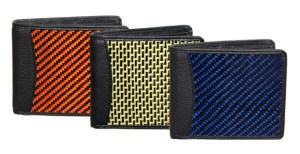 Colored carbon fiber wallets