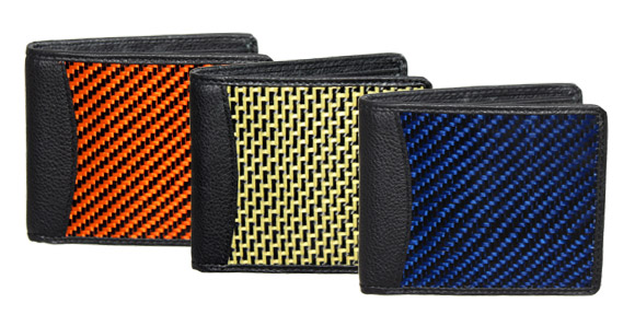 Colored carbon fiber wallets