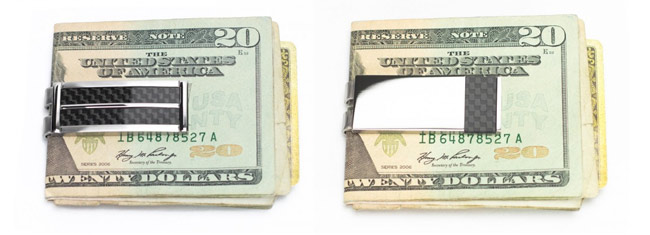 Carbon fiber & stainless steel money clips