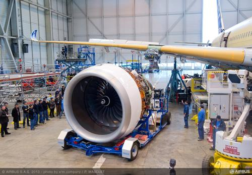 Rolls-Royce engines installed on A350 XWB MSN001