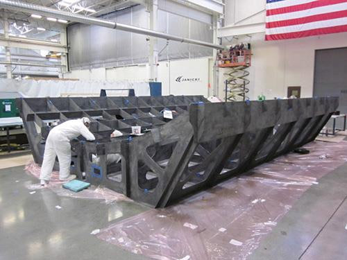 Assembly of the VARTM carbon fiber/epoxy substructure components.