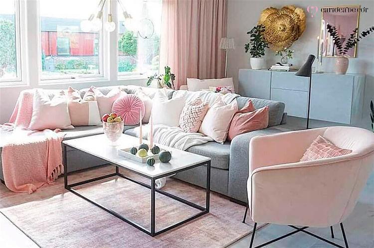 sala de estar paleta cor rosa