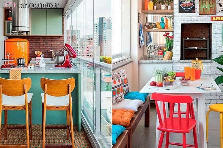 Duas imagens de cozinha com decorações diferentes