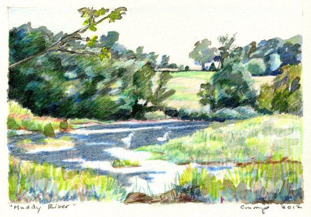 Muddy River, Carol Crump Bryner, Gouache