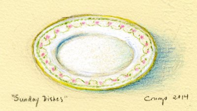 """Sunday Dishes,"" Carol Crump Bryner, colored pencil, 2014"