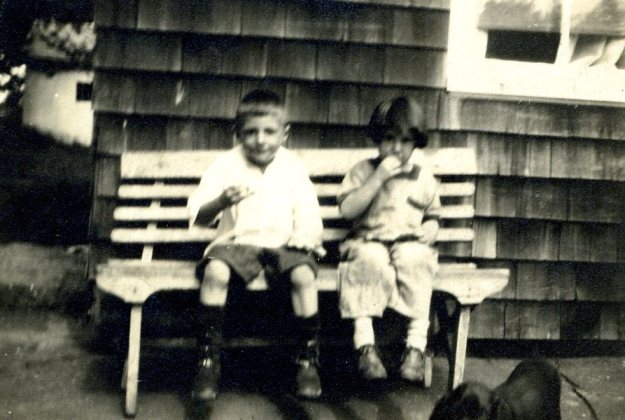 Francis and Janet Hall eating watermelon, 1921