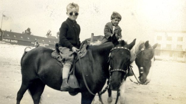 Charles and Charlotte Crump riding horses at Orchard Beach