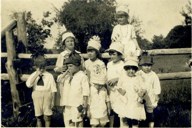 Janet's third birthday party - Janet in front on right, 1921