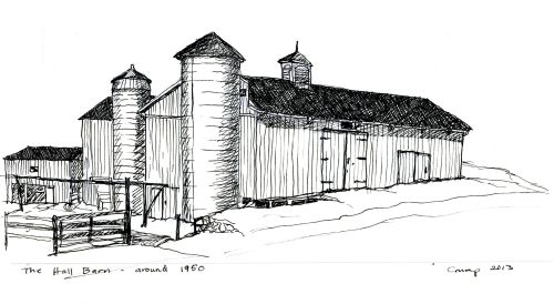 """Hall Barn around 1950,"" Carol Crump Bryner, pen and ink, 2013"