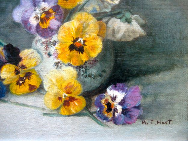 """Pansies,"" (detail), Mary E. Hart, oil on canvas, around 1870"