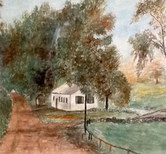 """Muddy River Schoolhouse,"" Mary E. Hart, watercolor"