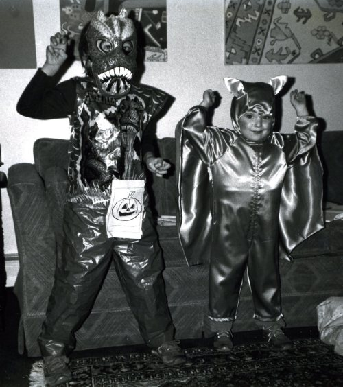 Halloween, 1980, son Paul as  Godzilla, and daughter Mara in a homemade bat costume