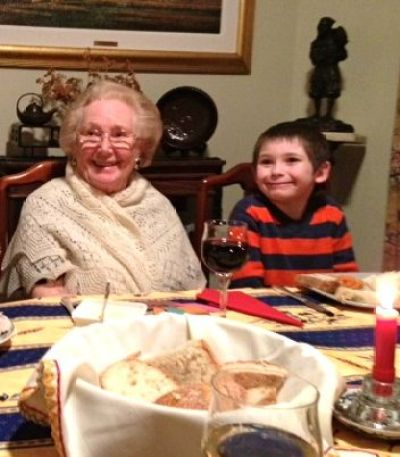 My grandson, Henry Thomas Kennedy, with his great-grandmother, Zoya Bryner, Thanksgiving, 2013