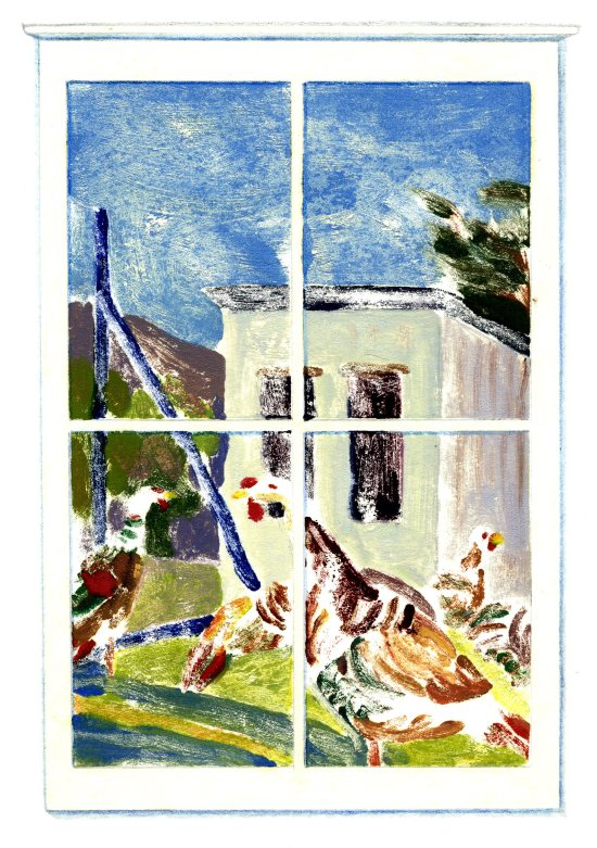 """November Window,"" Carol Crump Bryner, monoprint"