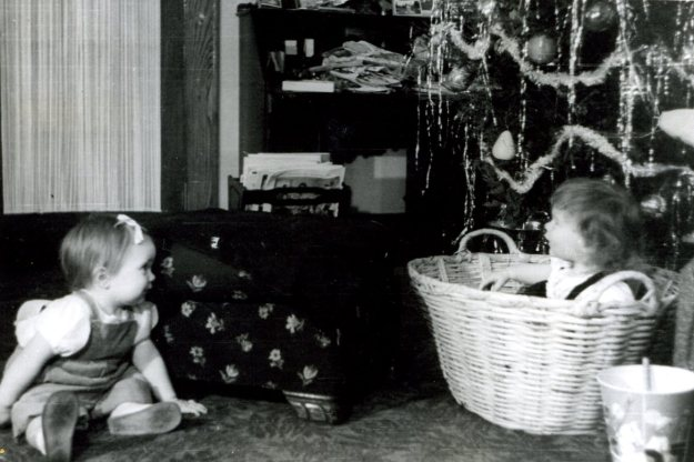 Carol and Sue, Christmas, 1946