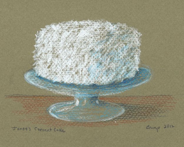 """Janet's Coconut Cake,"" Carol Crump Bryner, colored pencil, 2012"