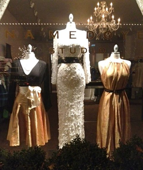 Three dresses in a shop window, Portland, Oregon