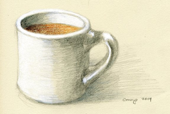 """White Cup,"" Carol Crump Bryner, colored pencil, 2014"
