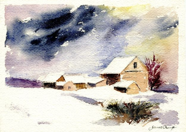 """Winter Scene,"" Janet Hall Crump, watercolor"