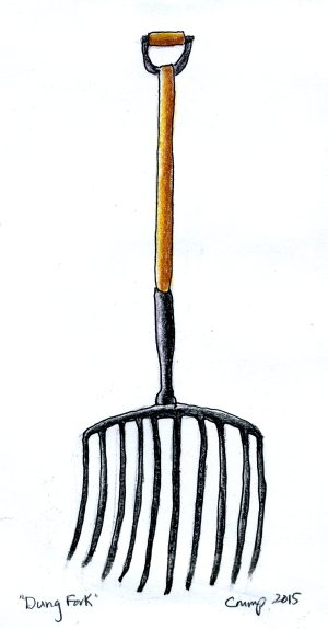 """Dung Fork,"" Carol Crump Bryner, colored pencil, 2015"