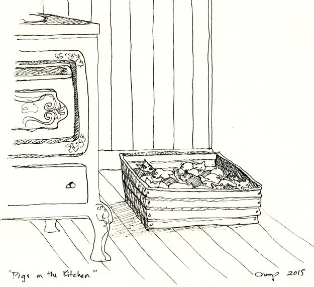 """Pigs in the Kitchen,"" Carol Crump Bryner, pen, 2015"