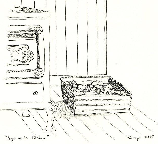 """""""Pigs in the Kitchen,"""" Carol Crump Bryner, pen, 2015"""