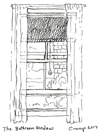 """The Bathroom Window,"" Carol Crump Bryner, pen, 2013"