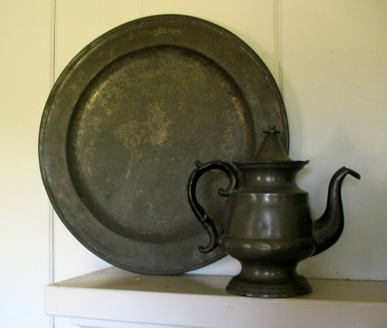 Pewter platter and pitcher
